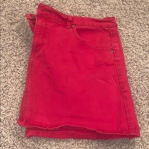 Red jean skirt